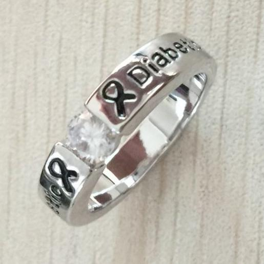 SILVER DIAMOND DIABETIC RING D5 Awareness-alert Pick Your Size