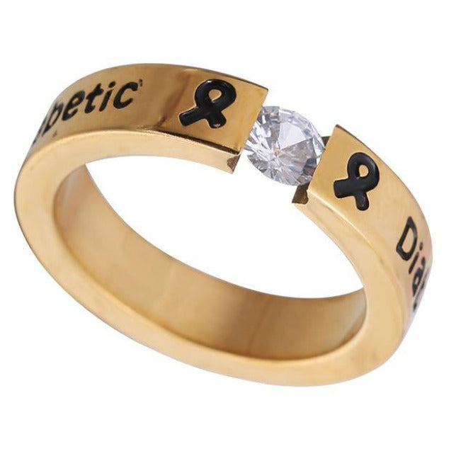 GOLD DIAMOND DIABETIC RING D6 Awareness-alert 6