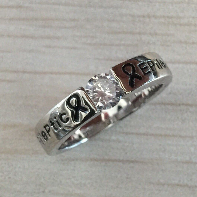 SILVER DIAMOND EPILEPTIC RING E1 Awareness-alert CLICK HERE TO PICK YOUR SIZE