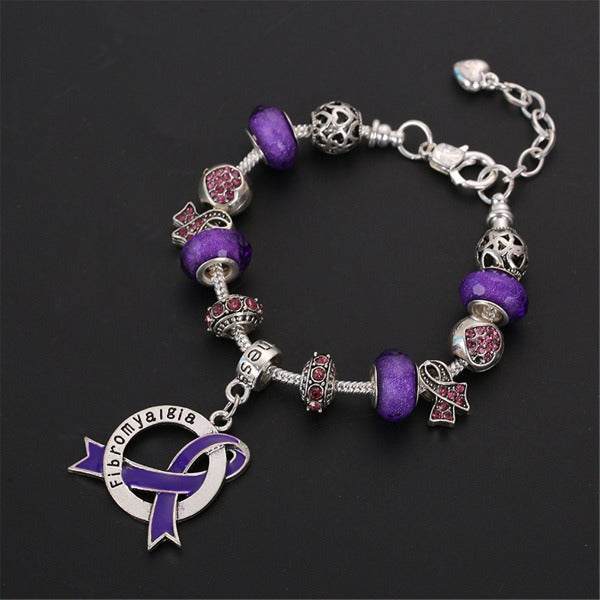 Fibromyalgia Awareness Luxury Charm Bracelet FLCB Awareness-alert