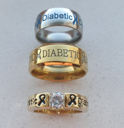 Gold Diamond + Gold Diabetic + Silver Diabetic Rings