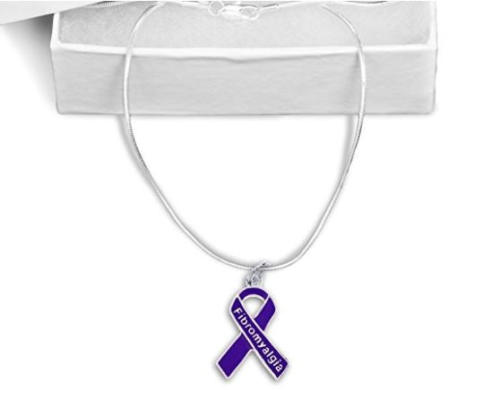 Fibromyalgia Ribbon Necklace FRN Awareness-alert
