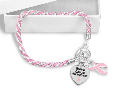 BCHCB1 - Breast Cancer Heart Charm Bracelet