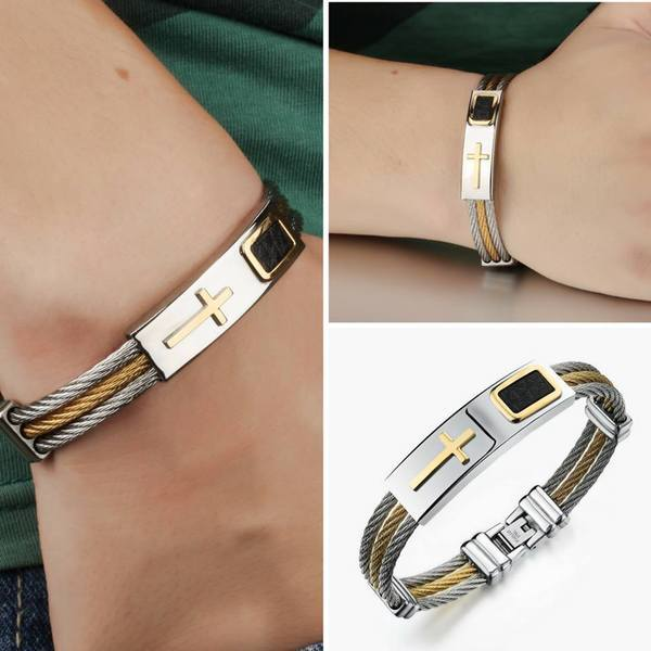 Premium Gold Stainless Steel Cross Bracelet PGSSCB Awareness-alert Premium Gold Stainless Steel Cross Bracelet