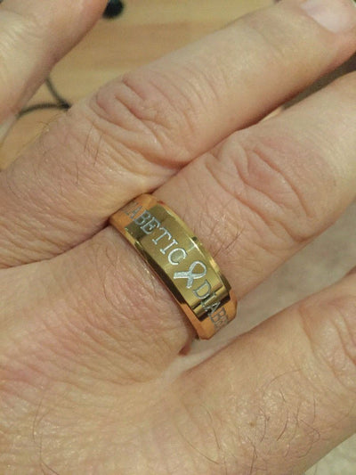 GOLD DIABETIC RING D4 Awareness-alert