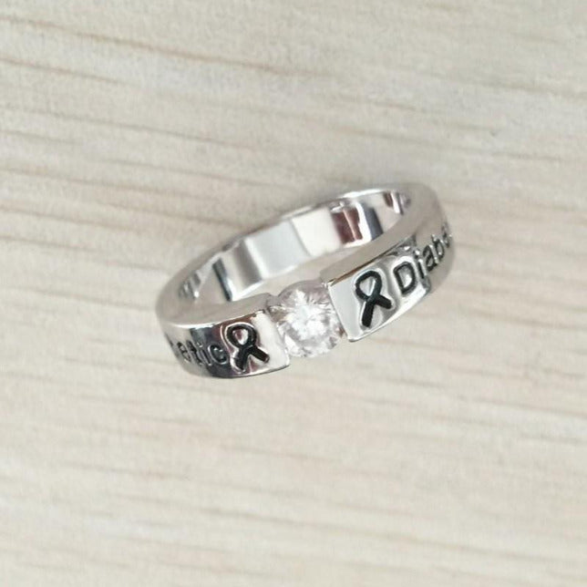 SILVER DIAMOND DIABETIC RING