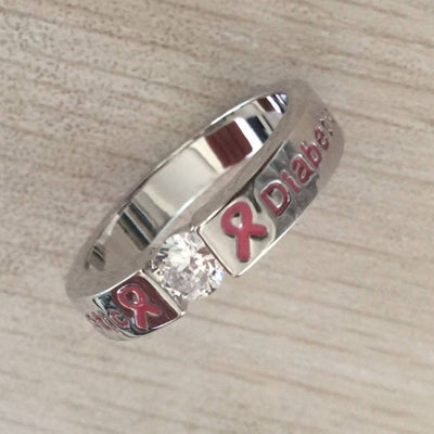 PINK DIAMOND DIABETIC RING D7 Awareness-alert CLICK HERE TO PICK YOUR SIZE
