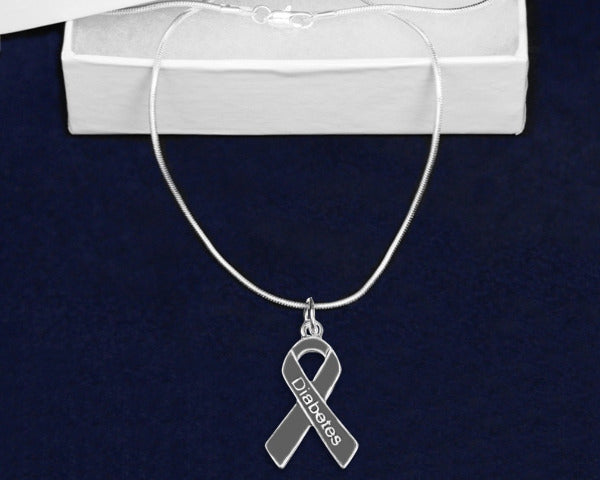Diabetes Ribbon Necklace DRN Awareness-alert