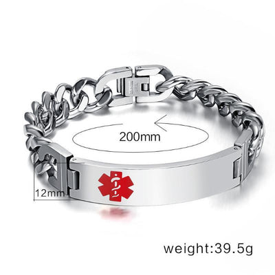 Engrave-Able Male Awareness Medical Alert Bracelet EAMAMAB Awareness-alert 12mm