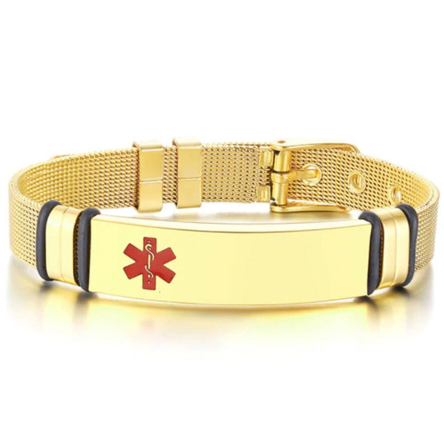 Gold Engrave-Able Adjustable Medical Alert Bracelet BR522_3 Awareness-alert Gold