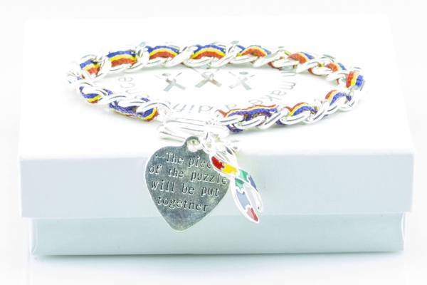 Autism Heart Charm Bracelet AHCB1 Awareness-alert