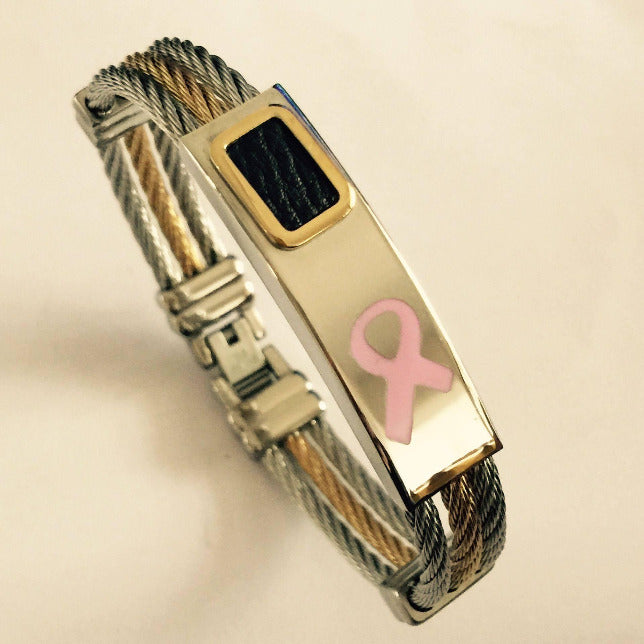 Breast Cancer Heart Premium Gold Bracelet ARBpink Awareness-alert Premium Gold Stainless Steel Cross Bracelet