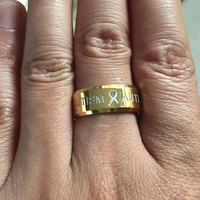 Premium Gold Autism Ring AU1 Awareness-alert