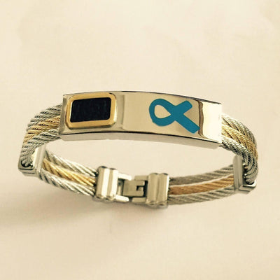 Premium Gold *Blue Ribbon* Bracelet ARBblue Awareness-alert