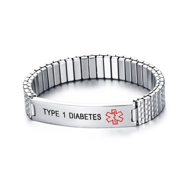 Male Type 1 Diabetes Awareness Alert Bracelet