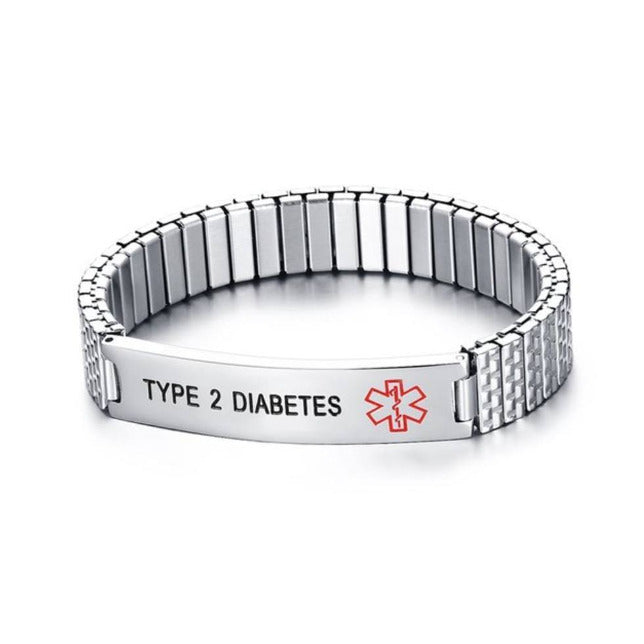 Male Type 2 Diabetes Awareness Alert Bracelet