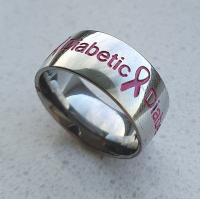 Pink Silver Diabetic Ring from right