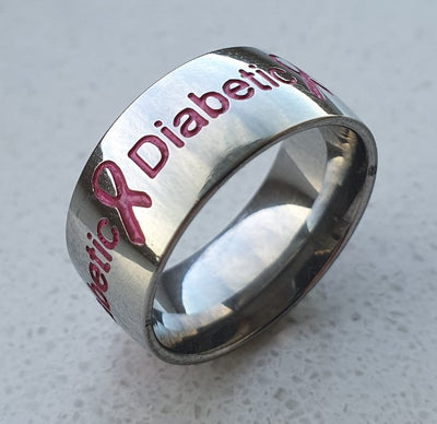 Pink Silver Diabetic Ring from left