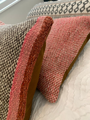 Frazada Pillow Covers in Black & Salmon