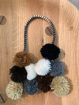 Neutral PomPom Tassels in Alpaca Wool