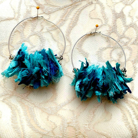 Turquoise Huge Hoop Silver Plated Statement Earrings - Sari Silk Boho Fabric Earrings