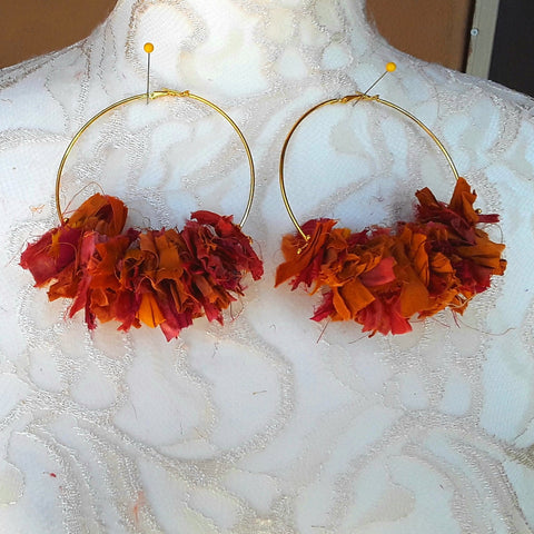 Burnt Orange Huge Hoop Gold Plated Statement Earrings - Sari Silk Boho Fabric Earrings