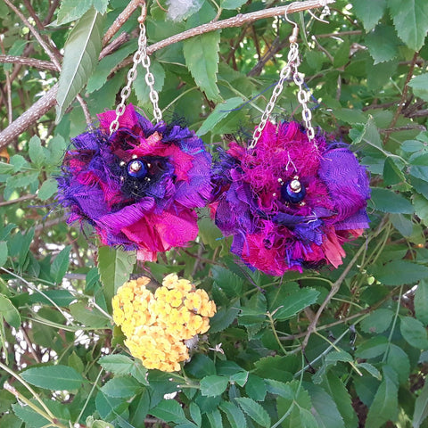 Jewel Tone Sari Silk Ribbon Dangle Flower Statement Earrings - Boho Fabric Earrings