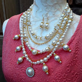 Bridal Vintage Pearl Multi-Strand Statement Necklace, Unique Gift for Her - Iris Apfel Inspired