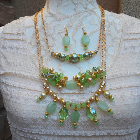 Maximalism Cluster Art Deco Layered Multiple Necklace Set - Couture Gift for Her