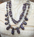 Boho Amethyst Multi-Strand Statement Necklace, Unique Gift for Her