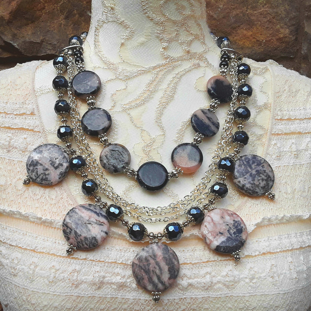 Jasper Multi-Strand Statement Necklace, Healing Gemstone Collar, Special Gift for Her