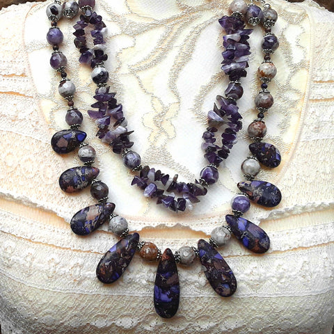 Boho Amethyst Multi-Strand Statement Necklace, Unique Gift for Her, Iris Apfel Inspired