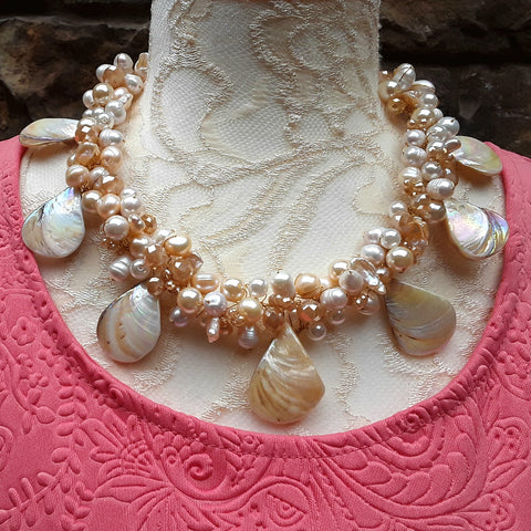 Unique Freshwater Pearl Bridal Statement Necklace, Chunky Wedding Necklace, OOAK Fancy Gift for Her