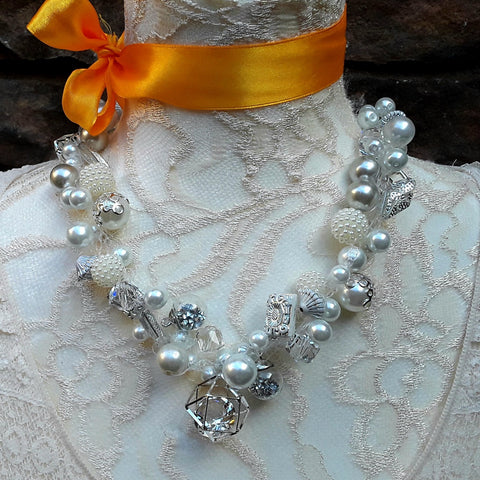 Pearl and Crystal Bridal Statement Necklace, Chunky Crocheted Necklace, Designer Inspired Jewelry