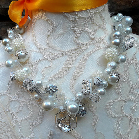 Pearl & Crystal Bridal Statement Necklace, Chunky Crocheted Necklace, Designer Inspired Jewelry