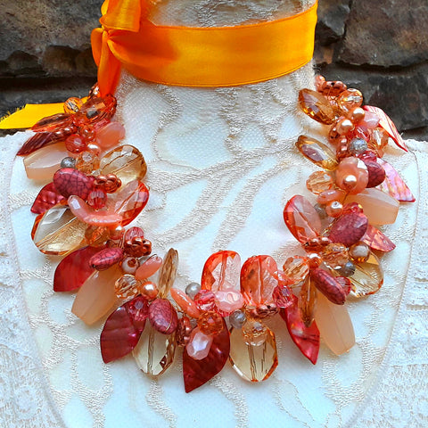 Copper Twisted Wire Statement Necklace, Chunky Mother of the Bride Collar