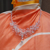 Bridal Clear Hand Blown Glass and Crystal Statement Necklace, Handmade Necklace - Chanel in Bubbles!