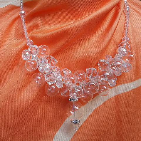 Bridal Clear Hand Blown Glass & Crystal Statement Necklace - Designer Inspired Collar