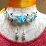 Pearl Cluster Statement Wire Choker Set - Something Blue Gift for Her