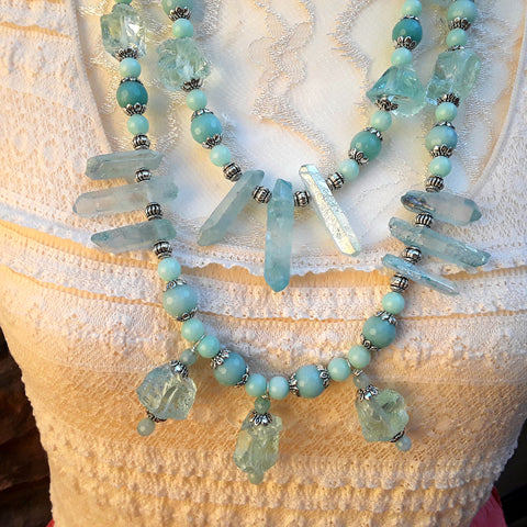 Titanium Quartz and Amazonite Multi-Strand Statement Necklace, Turquoise Raw Quartz Collar