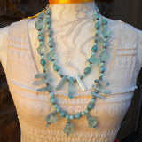 Titanium Quartz and Amazonite Statement Necklace, Raw Quartz Necklace, Multi-Strand Necklace