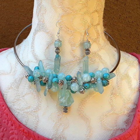 Turquoise and Quartz Cluster Statement Wire Choker Set - Unique Prom Necklace