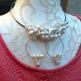 Freshwater Pearl and Crystal Statement Silver Wire Choker Set - Unique Bridal Beaded Necklace