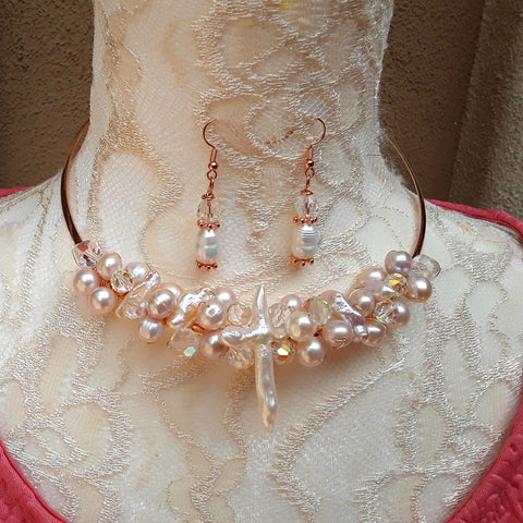Crystal and Freshwater Pearl Statement Wire Choker Set - Unique Bridal Beaded Necklace