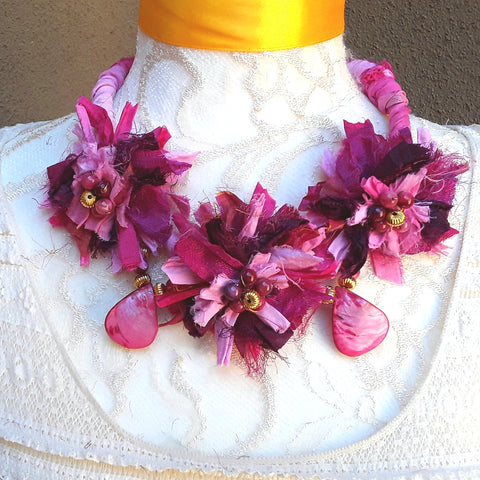 Boho Pink Sari Silk Flower Statement Necklace - Gypsy Style Gift for Her