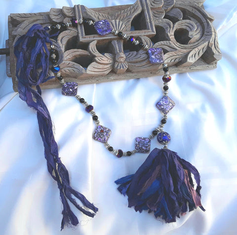 Purple Boho Tassel Statement Necklace - Southwestern Style Gift for Her