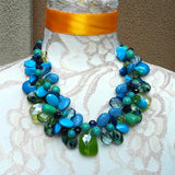 Turquoise Chunky Statement Necklace, Colorful Mother of the Bride Bib