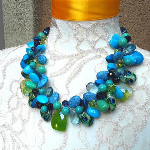 Turquoise Peacock Statement Necklace, Colorful Date Night Jewelry, Mother of the Bride