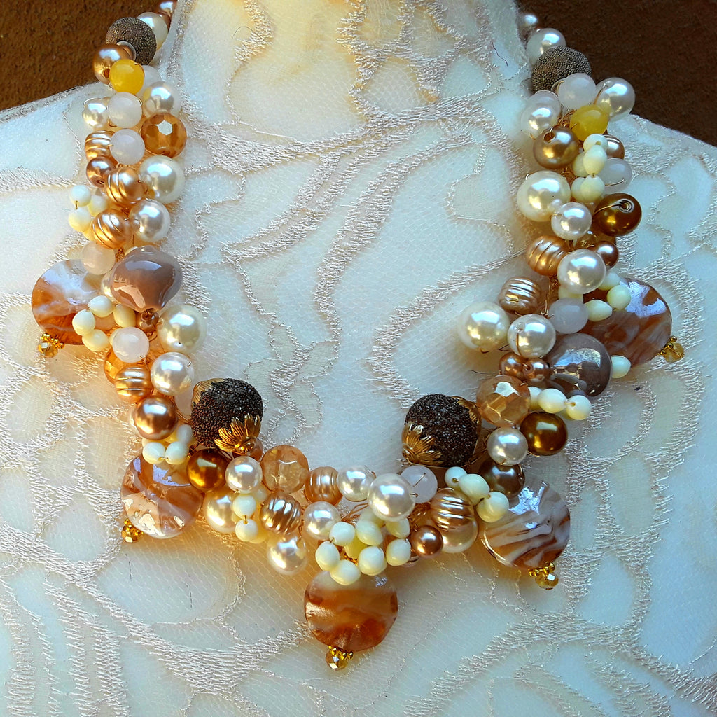 Unique Murano Glass & Pearl Bridal Statement Necklace, Pearl Artisan Cluster Collar