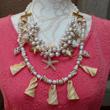 Chunky Pearl and Shell Multi-Strand Statement Necklace, Summer Gift for Her